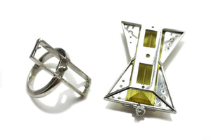 Art Deco Style 37.16ct Heliodor Yellow Beryl & 0.5ct Diamond Transformation Ring / Pendant in 18k White Gold