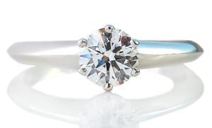 Tiffany & Co .59ct H/VS1 Round Brilliant Cut Diamond Engagement Ring