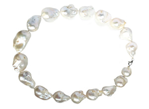 Huge Baroque Pearl 19-35mm Hand Knotted Necklace Platinum Clasp