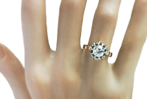 Antique French 0.78ct Old Cut Diamond Rose Gold Engagement Ring