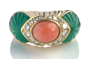 Vintage Cartier Cabochon Coral Carved Chalcedony Diamond Ring SZ 50