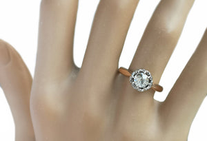 Antique Victorian French .59ct Old Cut Diamond Engagement Ring Rose Gold