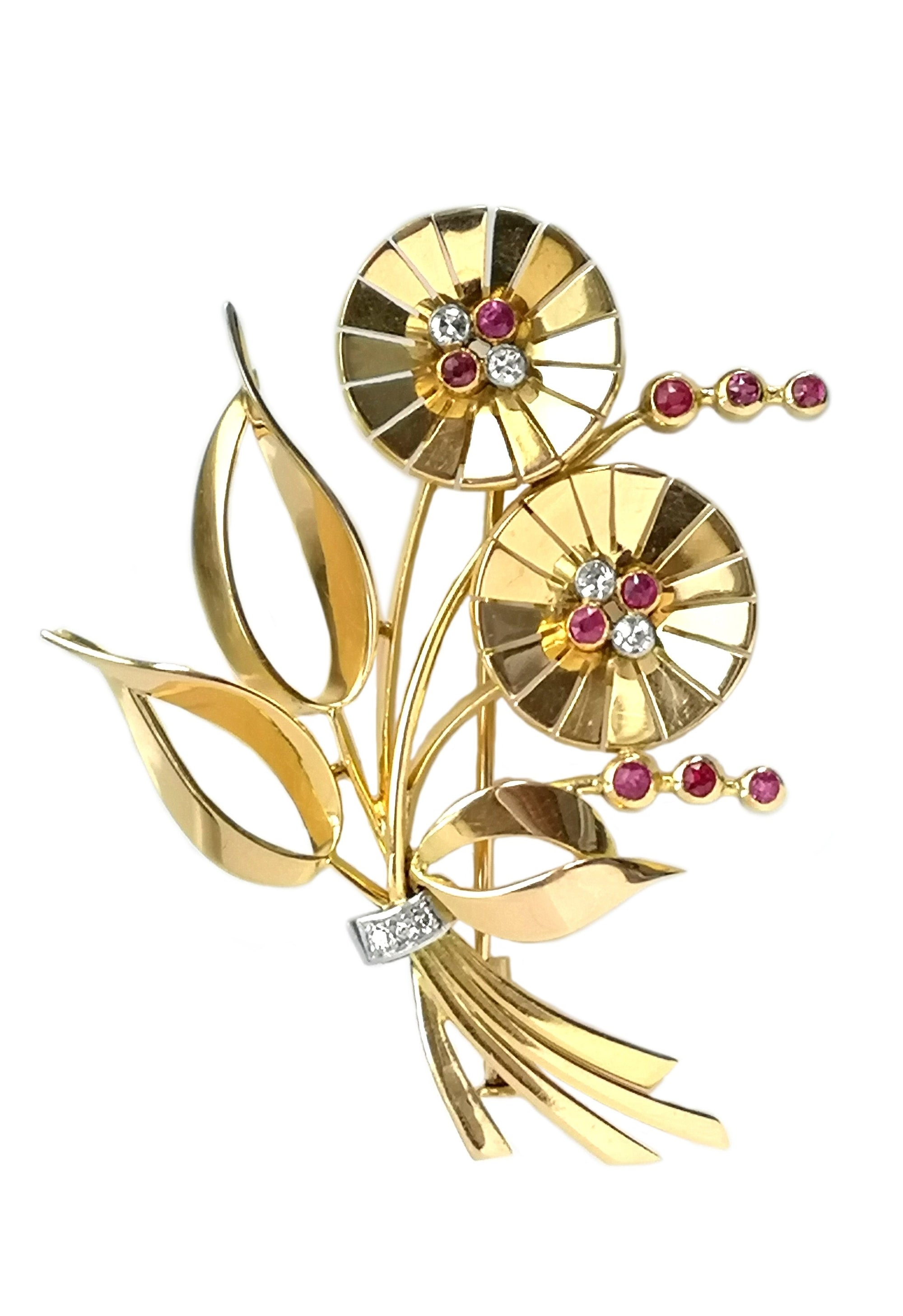1940s Retro Diamond Synthetic Ruby 18k Yellow Gold Brooch