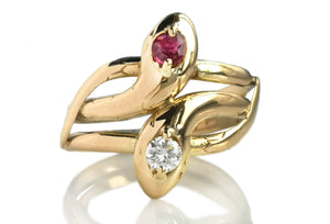 Vintage Double Snake Head Serpent Ring With Ruby & Diamond 18k Gold