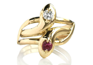 Vintage Double Snake Head Serpent Ring With Ruby & Diamond in 18k Gold