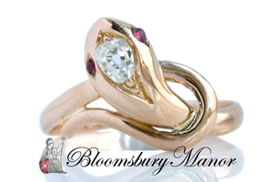 Antique French 18k Rose Gold Serpent Ring .10ct Old Mine Cut Diamond Cabochon Ruby Eyes