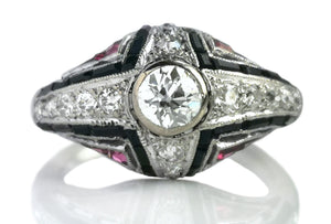 Art Deco .60tcw Old Cut Diamond Onyx Ruby Bombe Ring SZ M