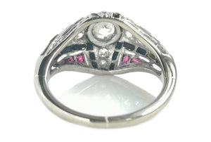 Art Deco 0.60tcw Old Cut Diamond, Onyx & Ruby Bombe Ring