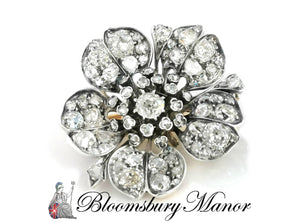 19th C Victorian 7.5ct Old Mine Cut Diamond Flower Brooch Silver on Gold