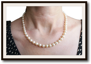 Vintage Hand Knotted Akoya 7mm 18k Gold Cultured Pearl Necklace 18 in