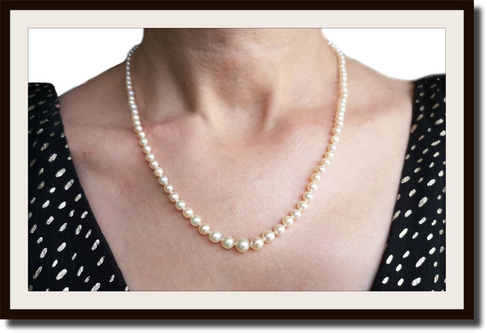 Vintage Graduated Hand Knotted Akoya Cultured Pearl Necklace