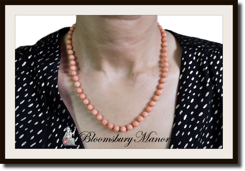 Vintage Genuine Angel Skin Round Bead Coral Necklace