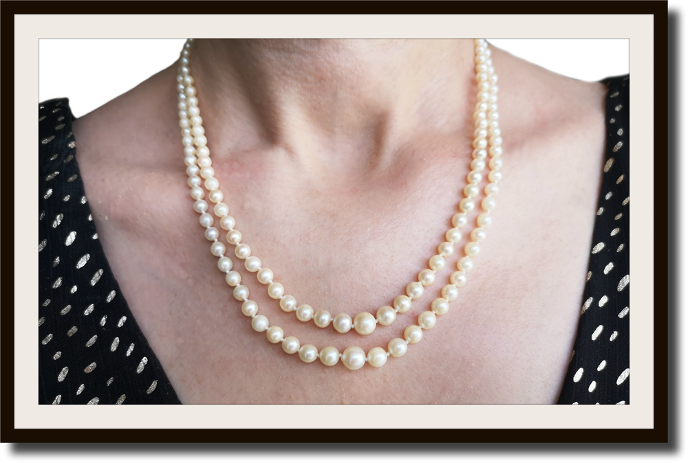 Vintage Akoya Two Strand Knotted Graduated Cultured Pearl Necklace 18k Clasp