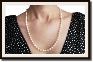 Vintage 1990s Cultured Hand Knotted Akoya Pearl Necklace