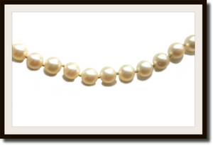 Vintage Graduated Cultured Akoya Pearl Necklace with Sapphire Diamond 18k Clasp