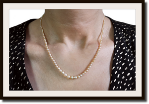 Art Deco Hand Knotted Graduated Cultured Pearl Necklace with Rose Cut Diamond Clasp