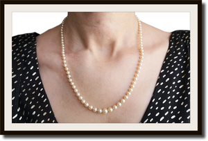 Vintage Hand Knotted Graduated Cultured Pearl Necklace 19in 18k Clasp