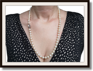 Vintage 7.8mm Cultured Akoya Pearl Handknotted Necklace with Peal Clasp 23""