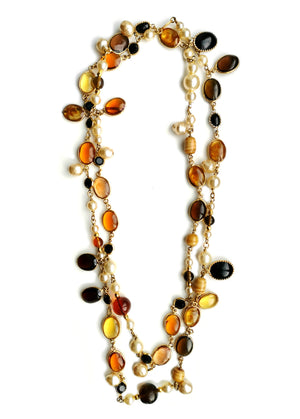 Vintage 1990 Gripoix Tiger's Eye Faux Pearls Chanel Sautoir Neckace 24 in