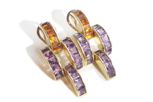1980s Vintage Amethyst Citrine Gem Set Earrings