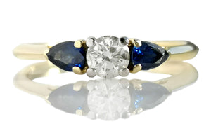 Tiffany & Co .27ct Round Brilliant Diamond & .41tcw Pear Cut Sapphire Engagement Ring