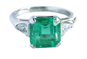 Mid Century 2.43ct Square Cut Emerald Trillion Cut Diamond Engagement Ring