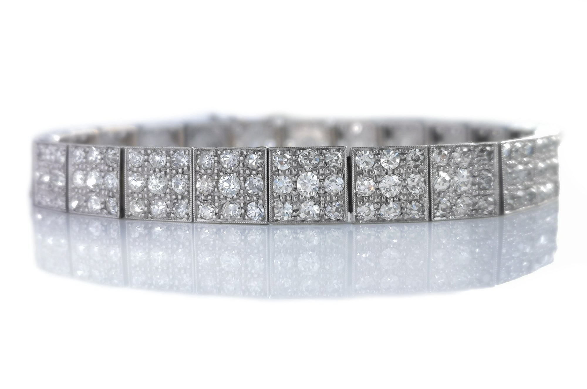 1920 Art Deco 5.17ct Old Cut Pave Diamond Set Bracelet