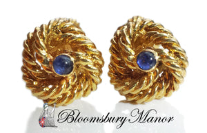 Vintage 1960s Tiffany & Co Cufflinks with Cabochon Sapphire