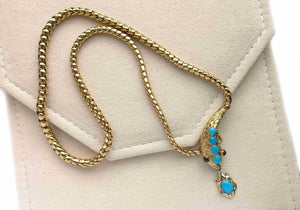 Victorian Snake Necklace With Turquoise & Rubies 22k Gold