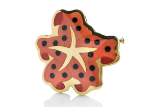 Vintage 1979 Tiffany & Co Angela Cummings Coral Onyx Starfish Brooch