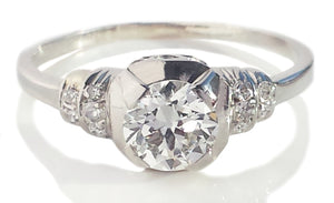 1920s Original French Art Deco 0.75ct Old Cut Diamond Engagement Ring