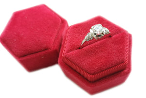 Art Deco 0.75ct Old Cut Diamond Engagement Ring in red velvet ringbox