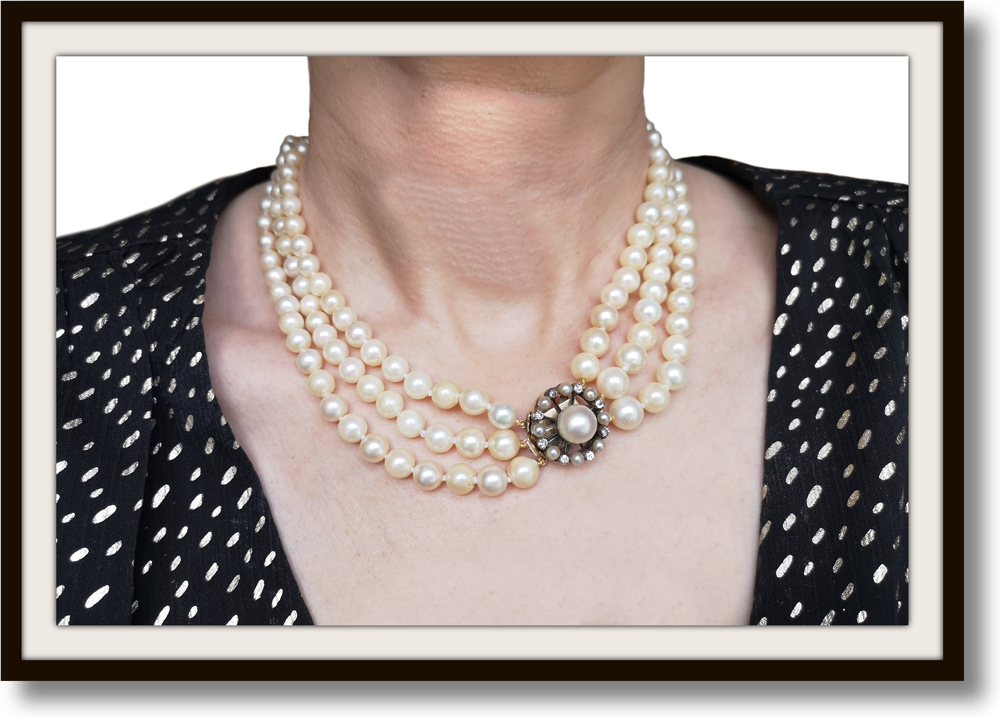 Vintage Edwardian 3 Strand Akoya Hand Knotted Graduated Cultured Pearl Necklace .50ct Old Cut Diamond Pearl Clasp 17in