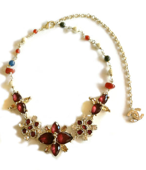 Chanel Flower Imitation Garnet Gem and Pearl Set Necklace 2016A