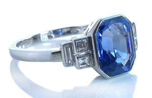 Original Art Deco 3.70ct Sapphire Diamond Platinum Engagement Ring