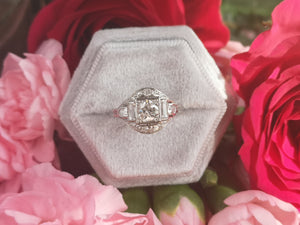 Original 1920s French Art Deco 0.90tcw Baguette & Old Round Cut Diamond Engagement Ring