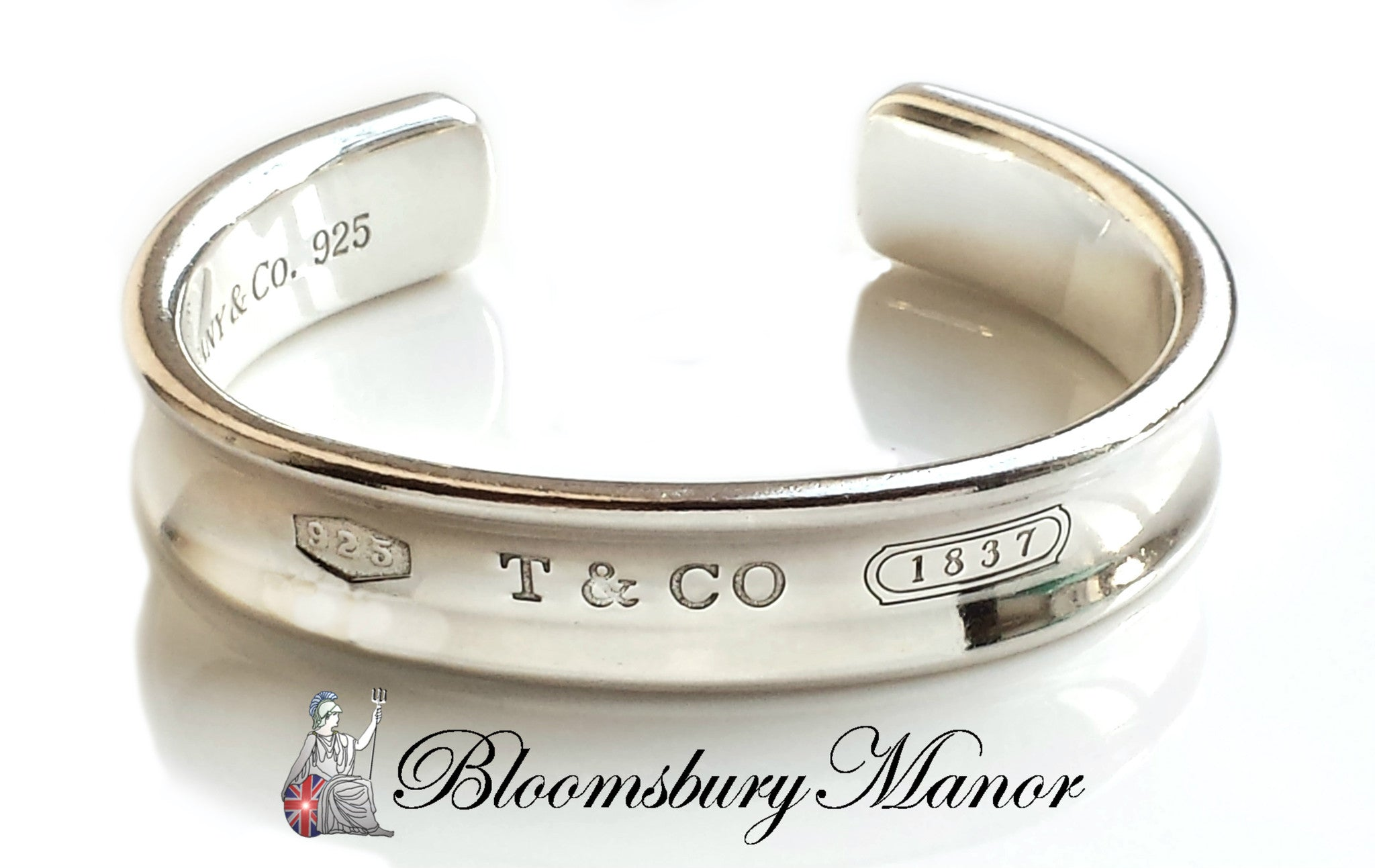 983859ec6 Tiffany & Co 1837 Sterling Silver Bangle Bracelet Small + Pouch -  Bloomsbury Manor Ltd