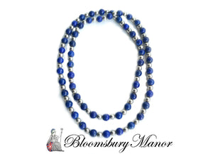 Tiffany & Co Sterling Silver Lapis Lazuli Bead Sautoir Necklace 30 in