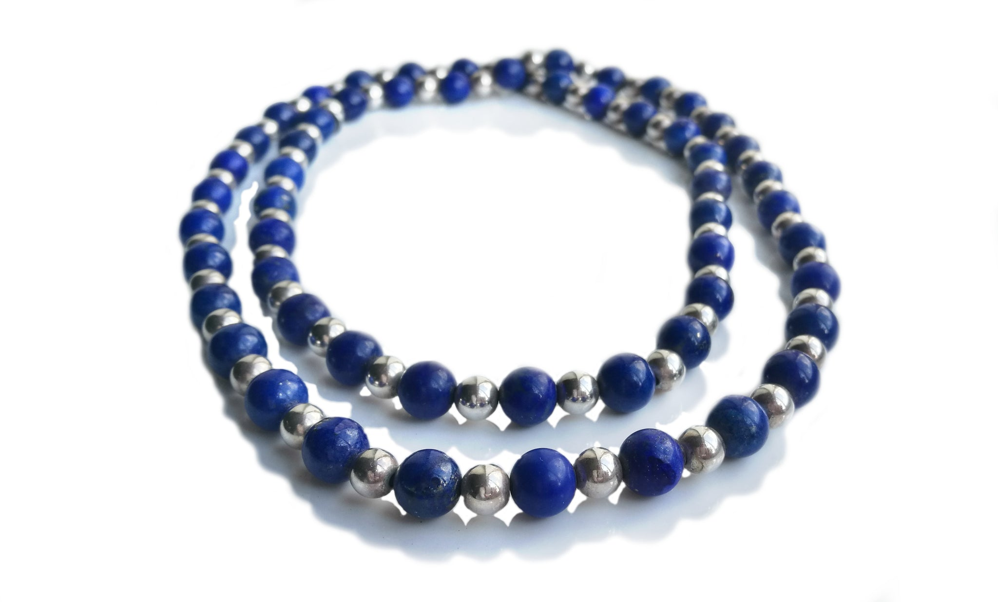 f5a526b3598c2 Tiffany & Co Sterling Silver Lapis Lazuli Bead Sautoir Necklace 30 in