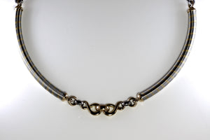 Vintage Cartier 80s/90s Twist Necklace in 18K Yellow Gold & Steel