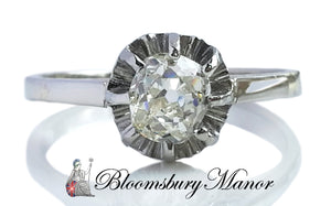 Antique French 0.72ct Old Mine Cut Sustainable Diamond Engagement Ring in Platinum