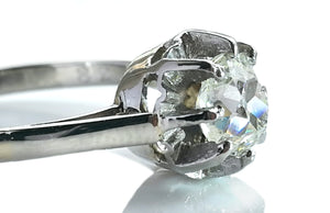 Antique French Old Mine Cut Diamond .72ct Sustainable Platinum Engagement Ring M