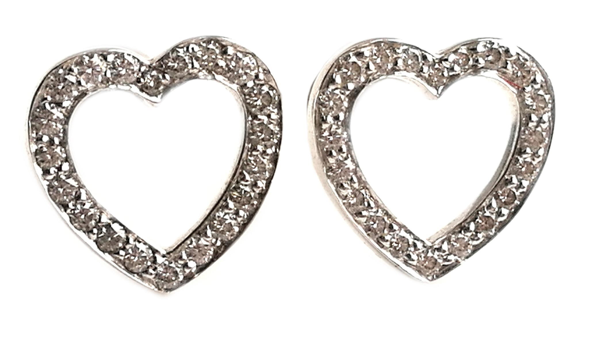 Tiffany & Co Heart Outline Diamond Platinum Earrings