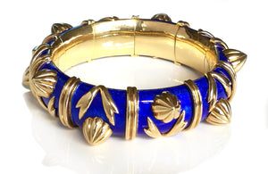 Tiffany & Co. Schlumberger Blue Paillonne Enamel 'Cones' Bracelet in  18k Yellow Gold