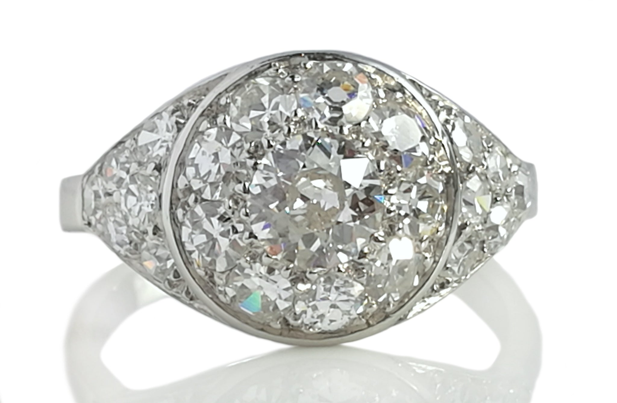 Antique Art Deco 1.77ct Old Cut Diamond & Platinum Bombe Engagement Ring