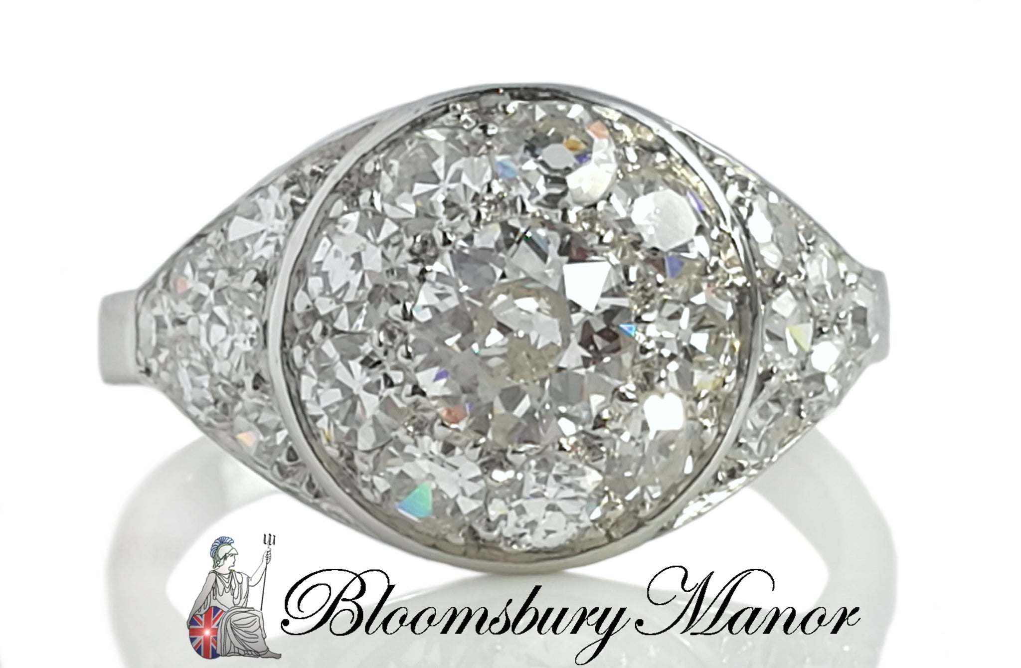 Antique Art Deco 1.77ct Bombe Old Cut Diamond Platinum Engagement Ring SZ L 5.75