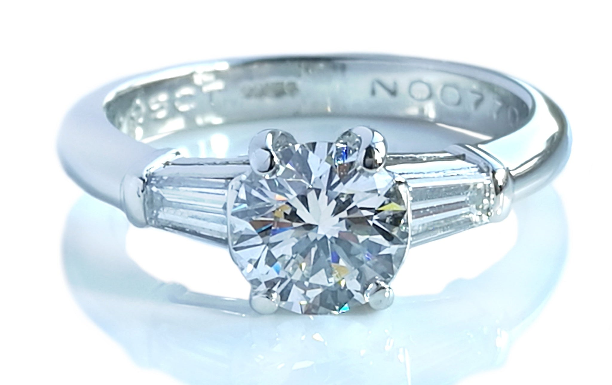 Tiffany & Co. 1.17ct G/VS1 3 Stone Diamond Engagement Ring with Baguette Side Stones