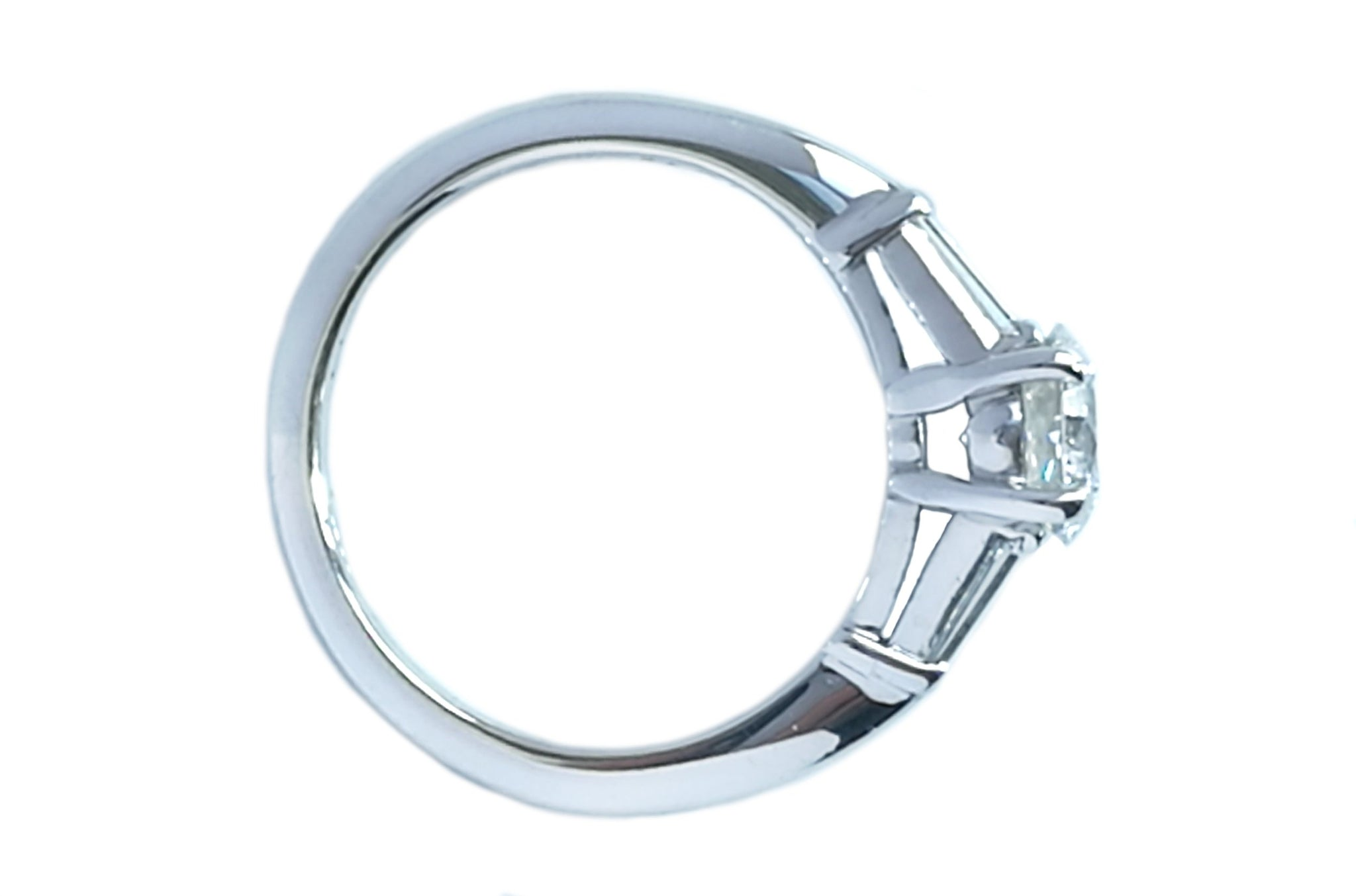 Tiffany & Co. 1.17ct G/VS1 3 Stone Diamond Engagement Ring with Baguette Side Stones, view from above