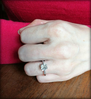 Antique Victorian Edwardian 2.12ct J/SI2 Old Cut Diamond 18k White Gold Ring