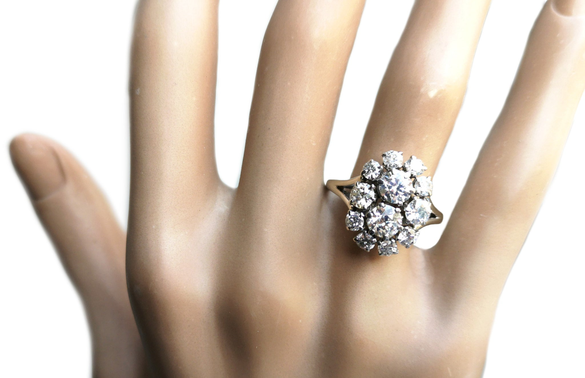 French Mid Century 1950s 2.10tcw G/VS Old/Transitional Cut Diamond Cluster Engagement Ring
